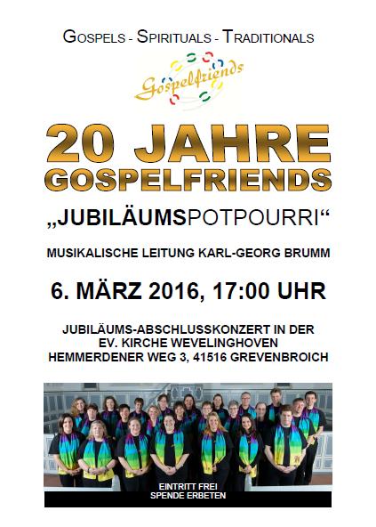 Gospelfriends 2016 Flyer Konzert