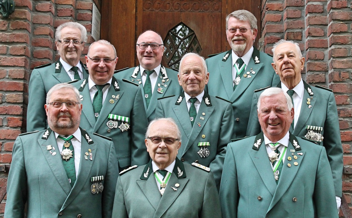Hinten (v.l.n.r.): Theo Bayer, Willibert Schmitz, Theo Hoer. Mitte (v.l.n.r.): Armin Mohren, Christian Thomas, Fritz Frey. Vorne (v.l.n.r.): Hans Rath, Rudi Gehlen, Horst Wassen.