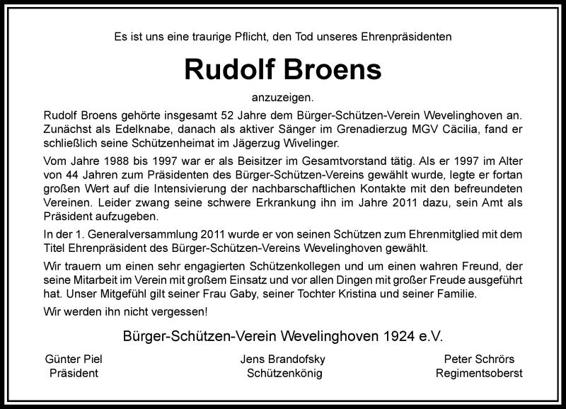 BSV Nachruf Rudi Broens Hoetchesjonge